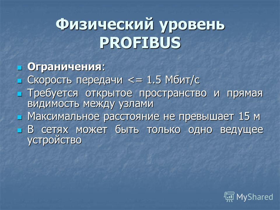 Физический уровень PROFIBUS Ограничения: Ограничения: Скорость передачи