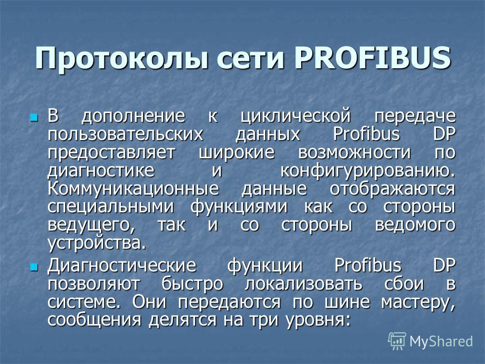 Протоколы сети PROFIBUS В дополнение к циклической передаче пользовательских данных Profibus DP предоставляет широкие возможности по диагностике и конфигурированию. Коммуникационные данные отображаются специальными функциями как со стороны ведущего,