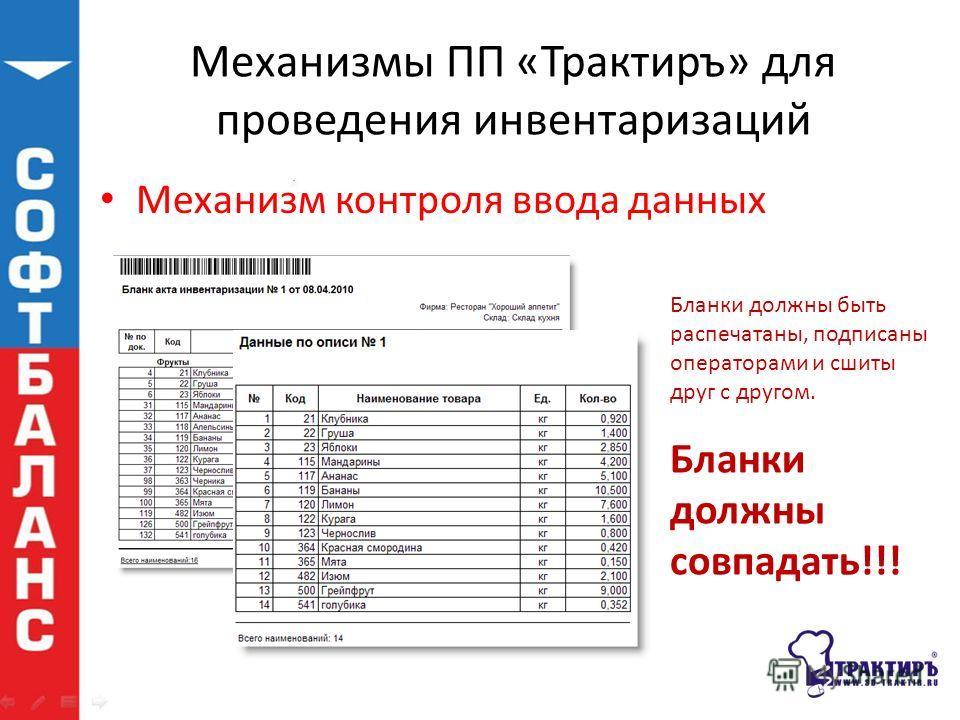 Механизмы ПП «Трактиръ» для проведения инвентаризаций Механизм контроля ввода данных Бланки должны быть распечатаны, подписаны операторами и сшиты друг с другом. Бланки должны совпадать!!!