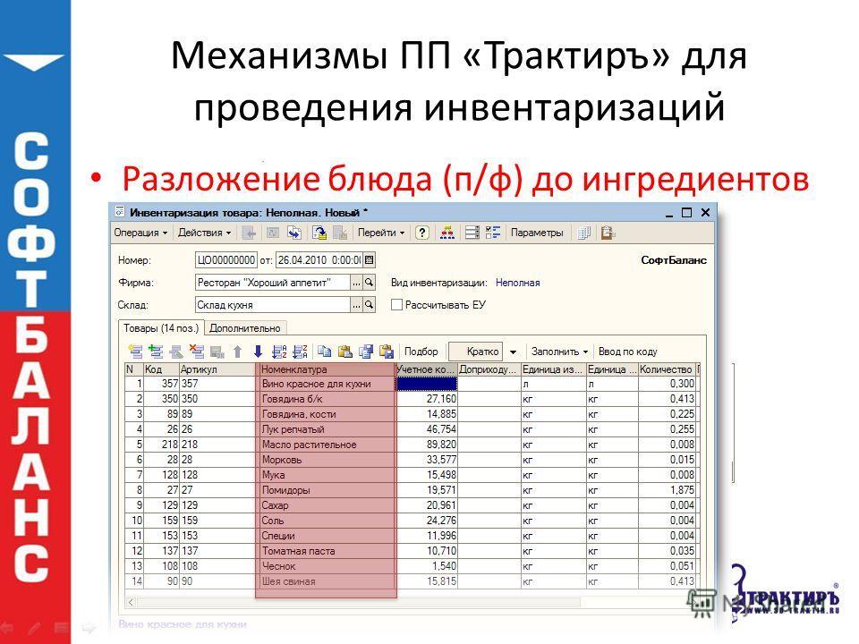 Механизмы ПП «Трактиръ» для проведения инвентаризаций Разложение блюда (п/ф) до ингредиентов