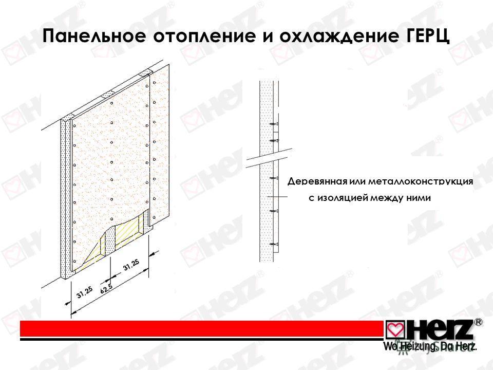 Панельное отопление и охлаждение ГЕРЦ Деревянная или металлоконструкция с изоляцией между ними