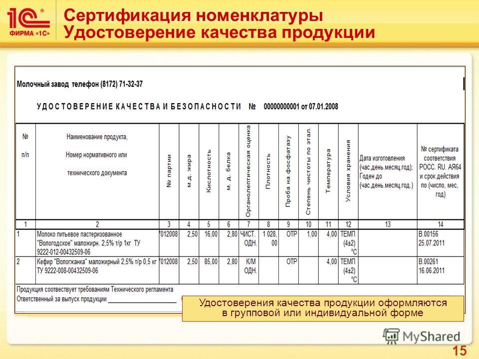15 Сертификация партий продукции на соответствие стандартам качества Сертификация номенклатуры Удостоверение качества продукции Удостоверения качества продукции оформляются в групповой или индивидуальной форме
