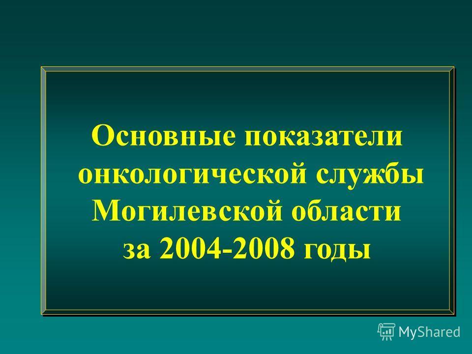 Основные показатели онкологической службы Могилевской области за 2004-2008 годы Основные показатели онкологической службы Могилевской области за 2004-2008 годы