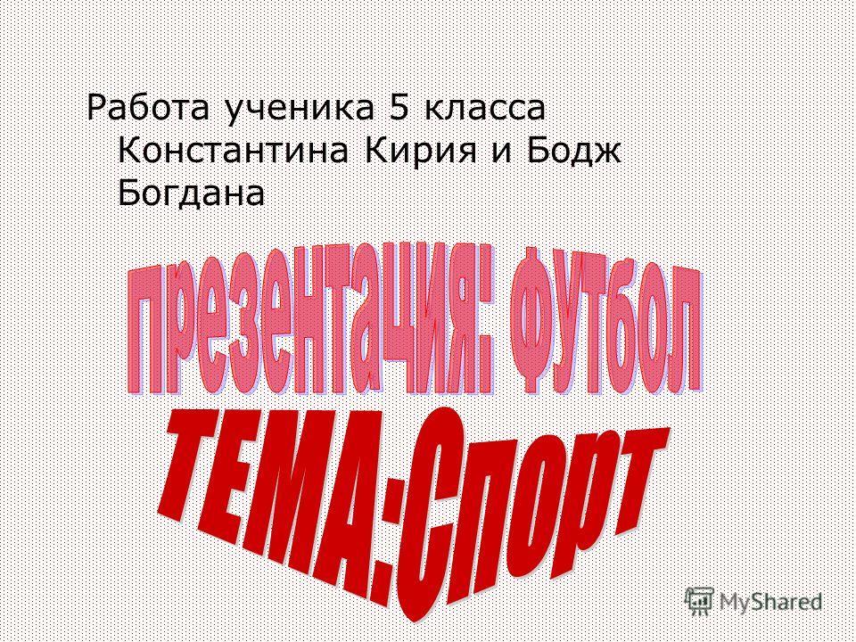 Работа ученика 5 класса Константина Кирия и Бодж Богдана