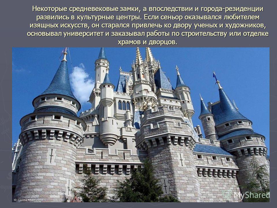 Некоторые средневековые замки, а впоследствии и города-резиденции развились в культурные центры. Если сеньор оказывался любителем изящных искусств, он старался привлечь ко двору ученых и художников, основывал университет и заказывал работы по строите