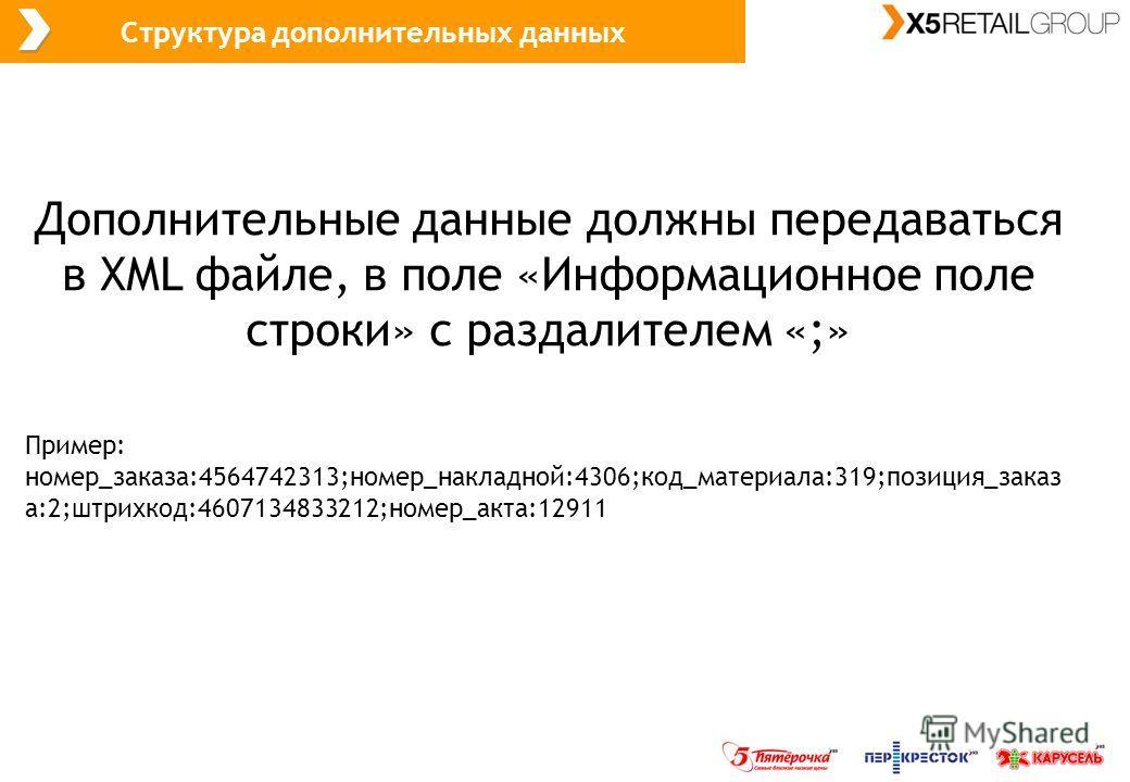 Структура дополнительных данных Дополнительные данные должны передаваться в XML файле, в поле «Информационное поле строки» с раздалителем «;» Пример: номер_заказа:4564742313;номер_накладной:4306;код_материала:319;позиция_заказ а:2;штрихкод:4607134833