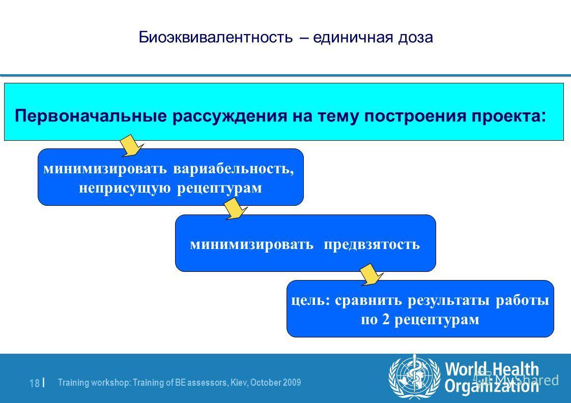 Training workshop: Training of BE assessors, Kiev, October 2009 18 | Биоэквивалентность – единичная доза минимизировать вариабельность, неприсущую рецептурам Первоначальные рассуждения на тему построения проекта : цель: сравнить результаты работы по
