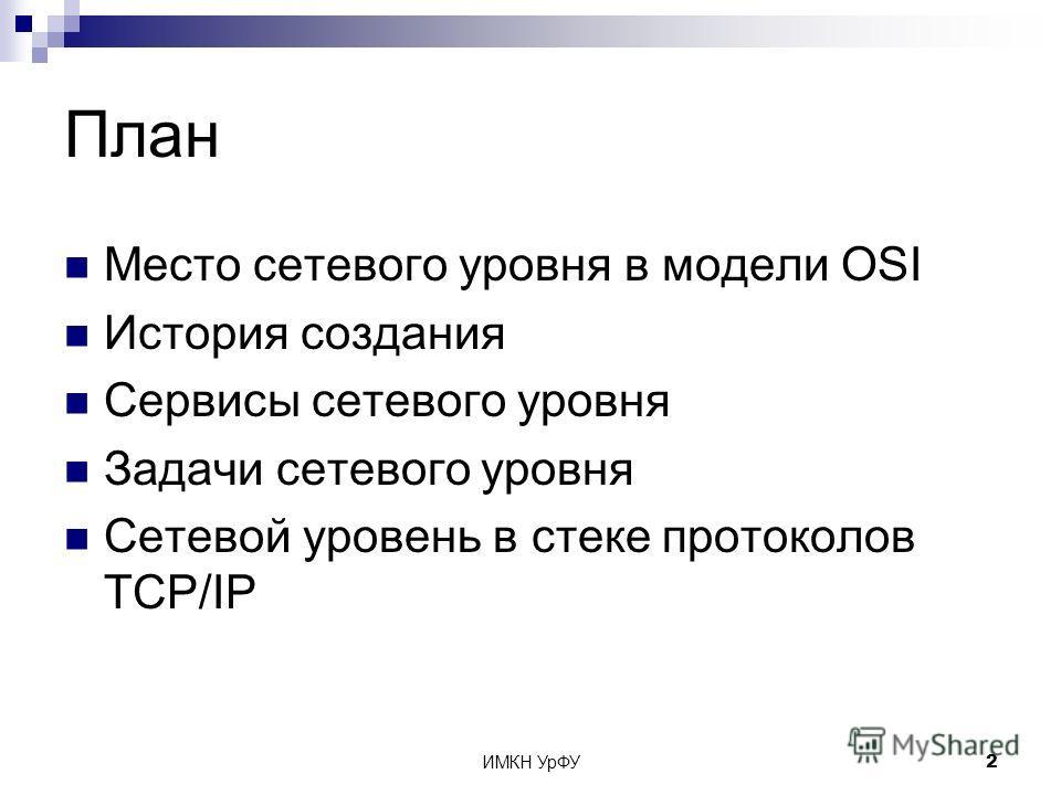 ИМКН УрФУ2 План Место сетевого уровня в модели OSI История создания Сервисы сетевого уровня Задачи сетевого уровня Сетевой уровень в стеке протоколов TCP/IP