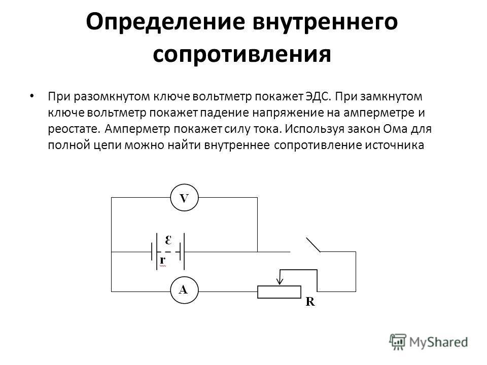 Определение внутреннего сопротивления При разомкнутом ключе вольтметр покажет ЭДС. При замкнутом ключе вольтметр покажет падение напряжение на амперметре и реостате. Амперметр покажет силу тока. Используя закон Ома для полной цепи можно найти внутрен