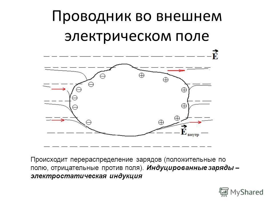 Проводник во внешнем электрическом поле Происходит перераспределение зарядов (положительные по полю, отрицательные против поля). Индуцированные заряды – электростатическая индукция