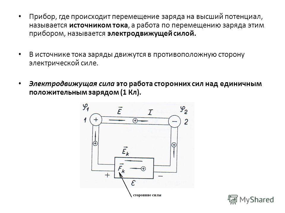 Прибор, где происходит перемещение заряда на высший потенциал, называется источником тока, а работа по перемещению заряда этим прибором, называется электродвижущей силой. В источнике тока заряды движутся в противоположную сторону электрической силе.