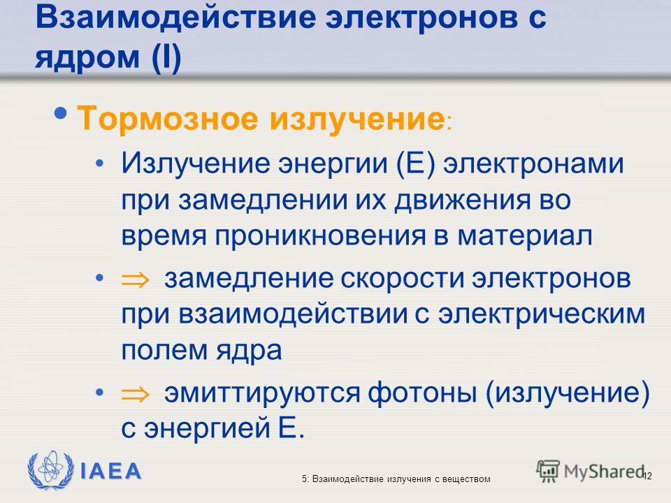 IAEA 5: Взаимодействие излучения с веществом Взаимодействие электронов с ядром (I) Тормозное излучение : Излучение энергии (E) электронами при замедлении их движения во время проникновения в материал замедление скорости электронов при взаимодействии