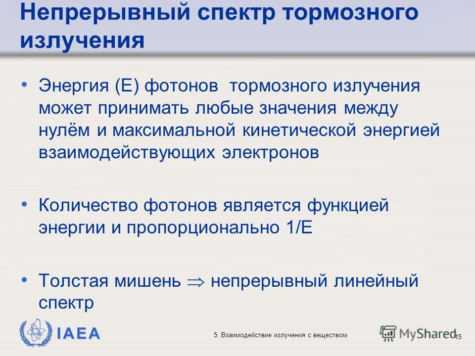 IAEA 5: Взаимодействие излучения с веществом Непрерывный спектр тормозного излучения Энергия (E) фотонов тормозного излучения может принимать любые значения между нулём и максимальной кинетической энергией взаимодействующих электронов Количество фото