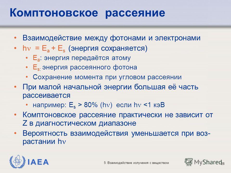 IAEA 5: Взаимодействие излучения с веществом Комптоновское рассеяние Взаимодействие между фотонами и электронами h = E a + E s (энергия сохраняется) E a : энергия передаётся атому E s: энергия рассеянного фотона Сохранение момента при угловом рассеян