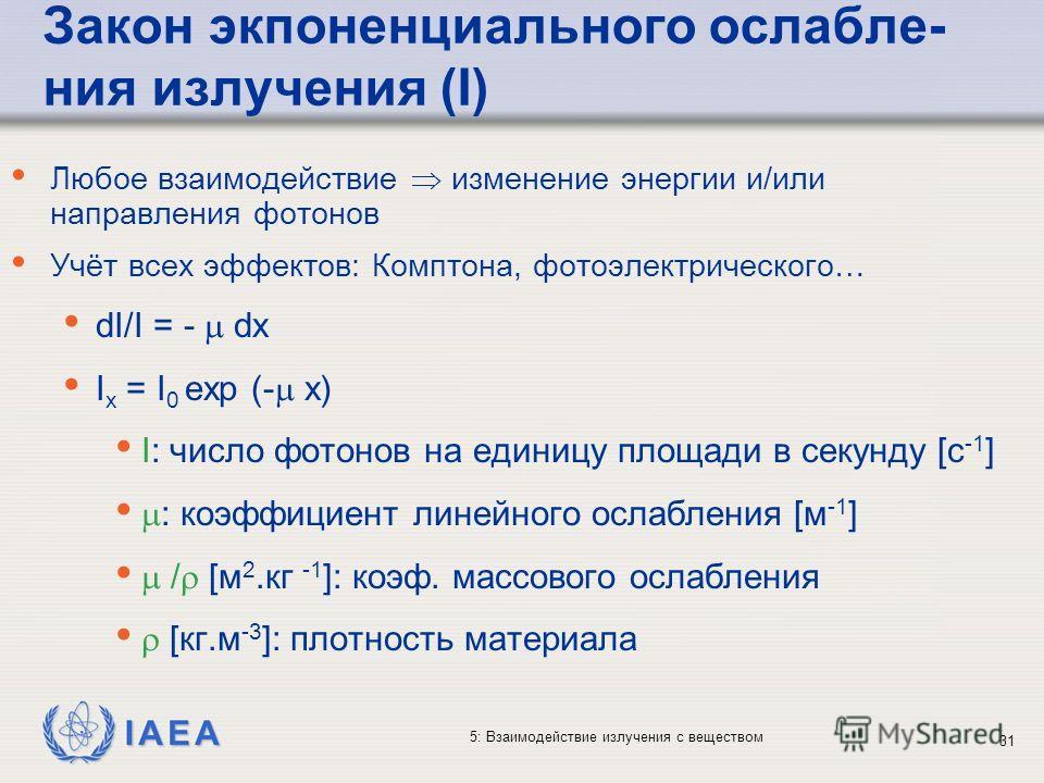 IAEA 5: Взаимодействие излучения с веществом Закон экпоненциального ослабле- ния излучения (I) Любое взаимодействие изменение энергии и/или направления фотонов Учёт всех эффектов: Комптона, фотоэлектрического… dI/I = - dx I x = I 0 exp (- x) I: число