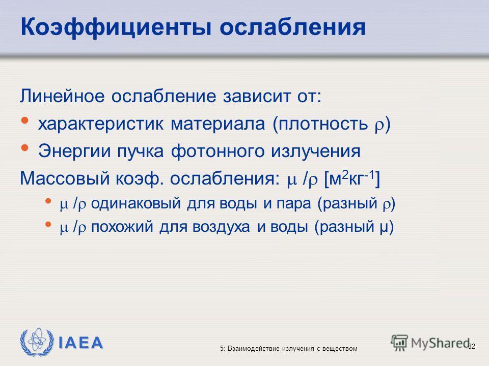 IAEA 5: Взаимодействие излучения с веществом Коэффициенты ослабления Линейное ослабление зависит от: характеристик материала (плотность ) Энергии пучка фотонного излучения Массовый коэф. ослабления: / [м 2 кг -1 ] / одинаковый для воды и пара (разный