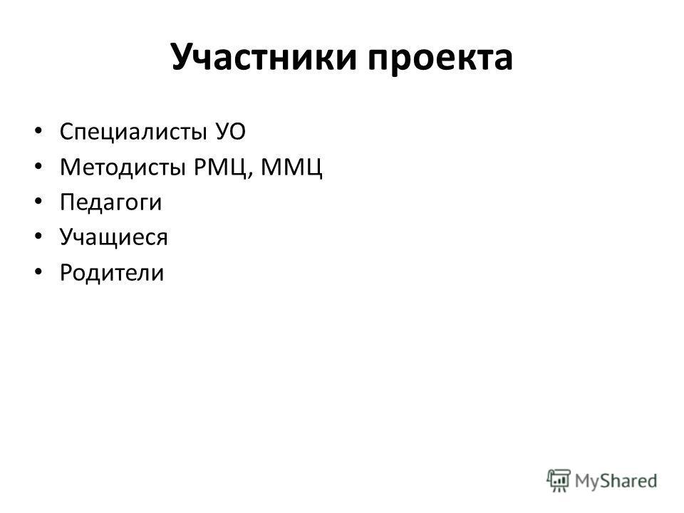 Участники проекта Специалисты УО Методисты РМЦ, ММЦ Педагоги Учащиеся Родители