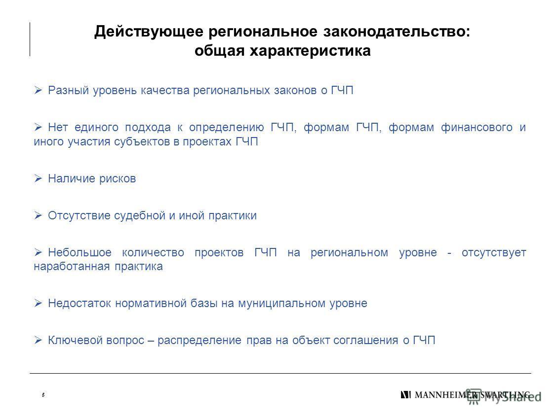 5 Действующее региональное законодательство: общая характеристика Разный уровень качества региональных законов о ГЧП Нет единого подхода к определению ГЧП, формам ГЧП, формам финансового и иного участия субъектов в проектах ГЧП Наличие рисков Отсутст