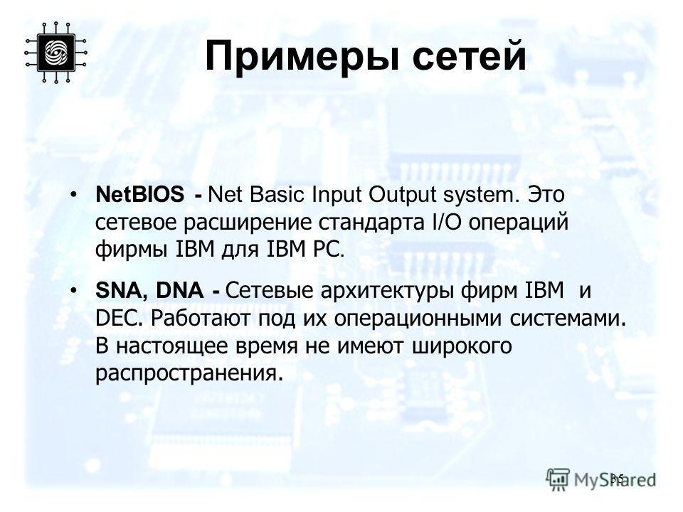 35 Примеры сетей NetBIOS - Net Basic Input Output system. Это сетевое расширение стандарта I/O операций фирмы IBM для IBM PC. SNA, DNA - Сетевые архитектуры фирм IBM и DEC. Работают под их операционными системами. В настоящее время не имеют широкого