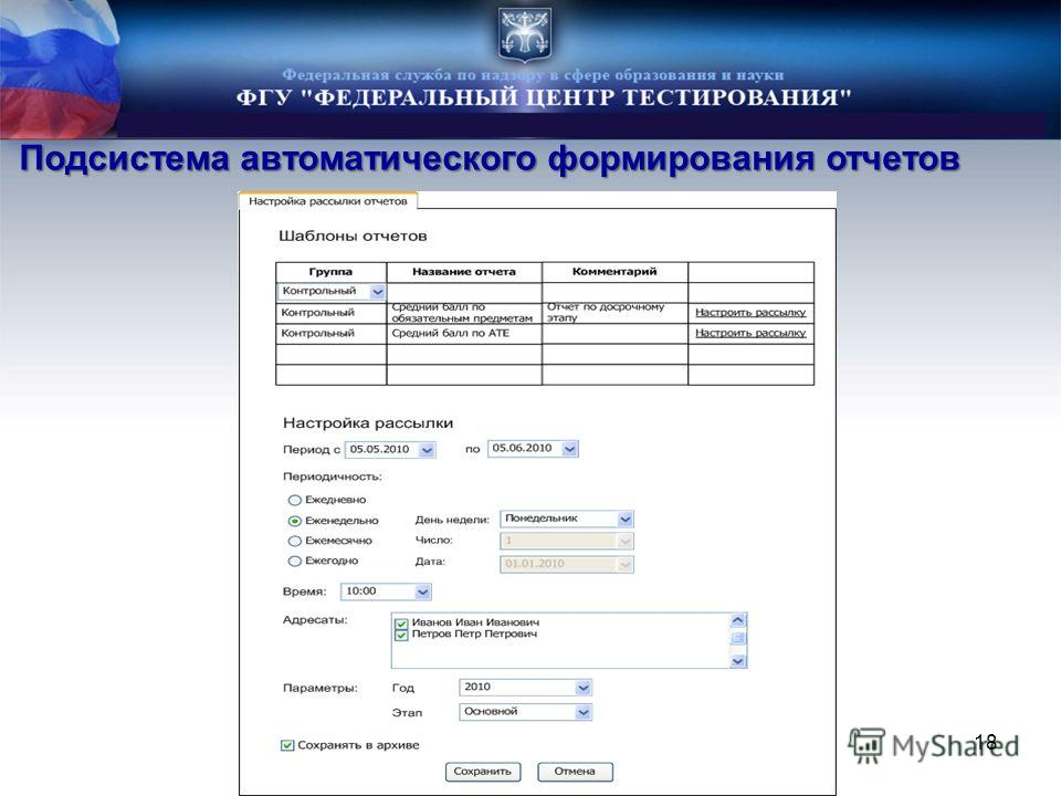 Подсистема автоматического формирования отчетов 18