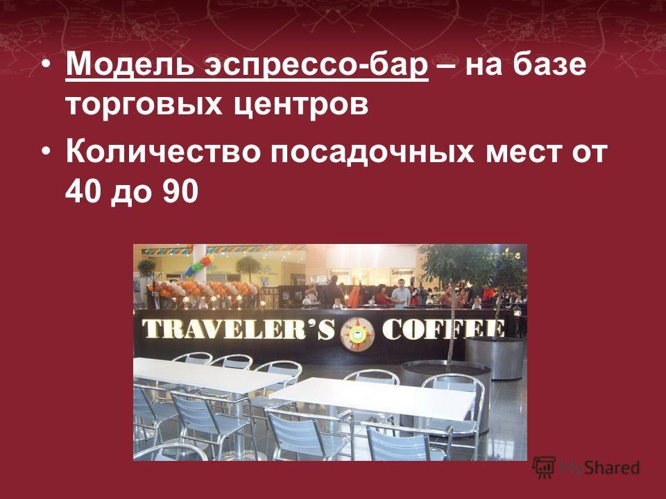 Модель эспрессо-бар – на базе торговых центров Количество посадочных мест от 40 до 90