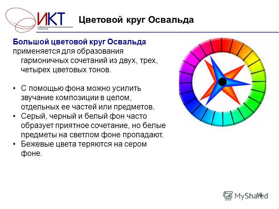 16 Цветовой круг Освальда Большой цветовой круг Освальда применяется для образования гармоничных сочетаний из двух, трех, четырех цветовых тонов. С помощью фона можно усилить звучание композиции в целом, отдельных ее частей или предметов. Серый, черн
