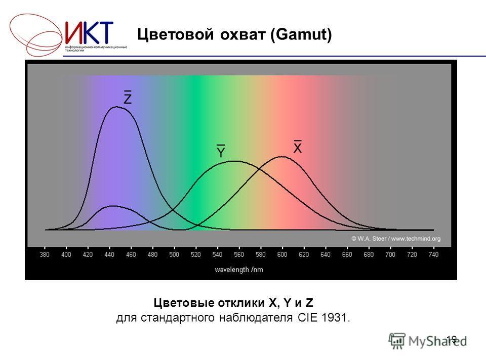 19 Цветовой охват (Gamut) Цветовые отклики X, Y и Z для стандартного наблюдателя CIE 1931.