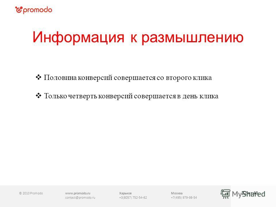 © 2010 Promodowww.promodo.ru contact@promodo.ru Харьков +3(8057) 752-54-62 Москва +7(495) 979-98-54 Информация к размышлению 22 из 40 Половина конверсий совершается со второго клика Только четверть конверсий совершается в день клика