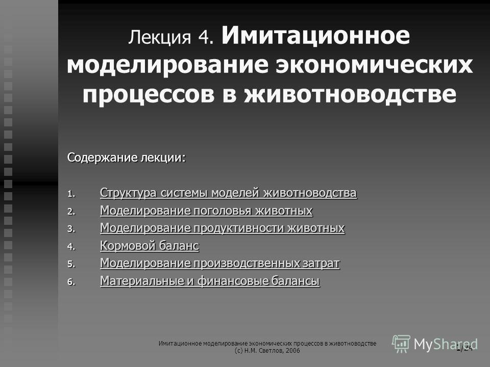 Имитационное моделирование экономических процессов в животноводстве (с) Н.М. Светлов, 2006 1 /24 Лекция 4. Имитационное моделирование экономических процессов в животноводстве Содержание лекции: 1. Структура системы моделей животноводства Структура си
