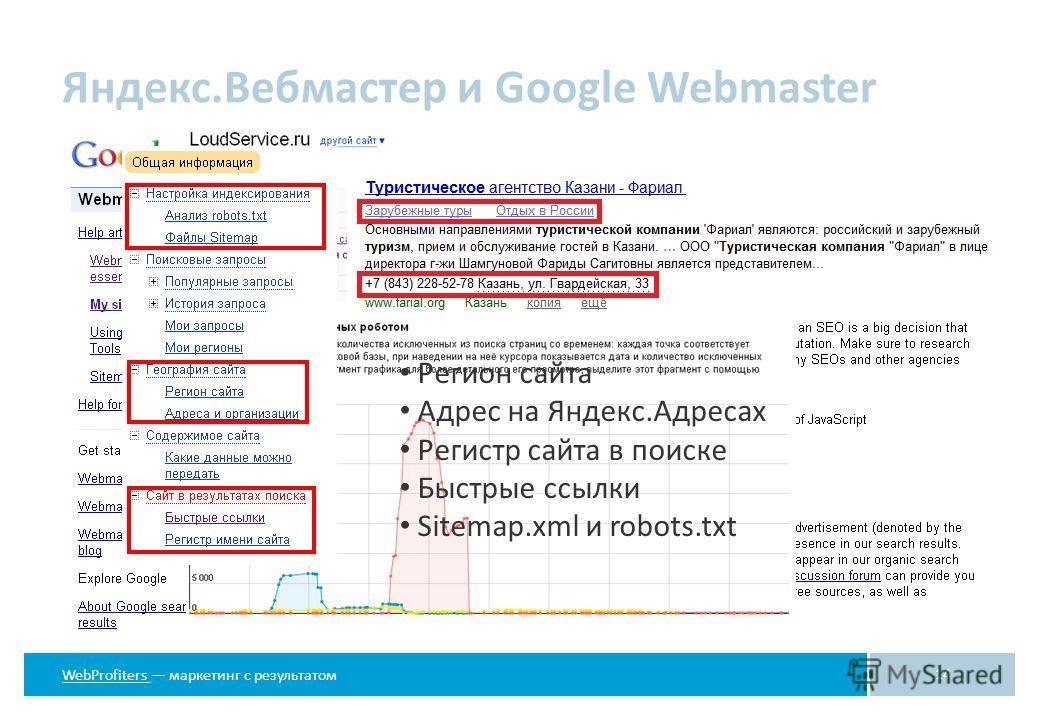 WebProfiters WebProfiters маркетинг с результатом Яндекс.Вебмастер и Google Webmaster 14 Регион сайта Адрес на Яндекс.Адресах Регистр сайта в поиске Быстрые ссылки Sitemap.xml и robots.txt