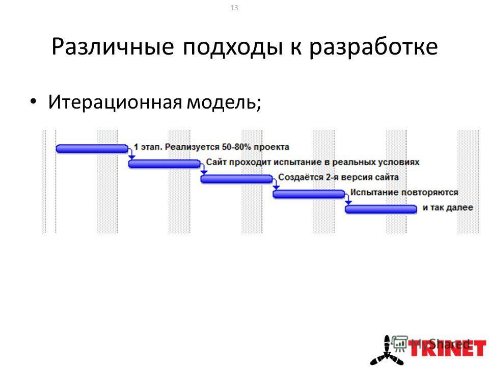Различные подходы к разработке Итерационная модель; 13