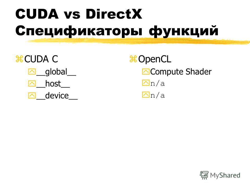 CUDA vs DirectX Спецификаторы функций zCUDA C y__global__ y__host__ y__device__ z OpenCL yCompute Shader yn/a
