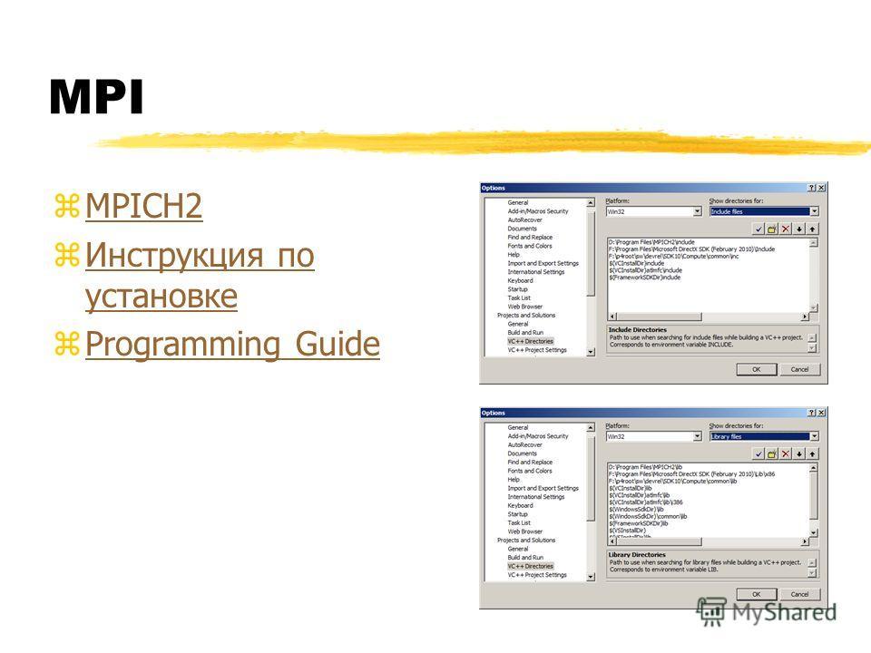 MPI zMPICH2MPICH2 zИнструкция по установкеИнструкция по установке zProgramming GuideProgramming Guide