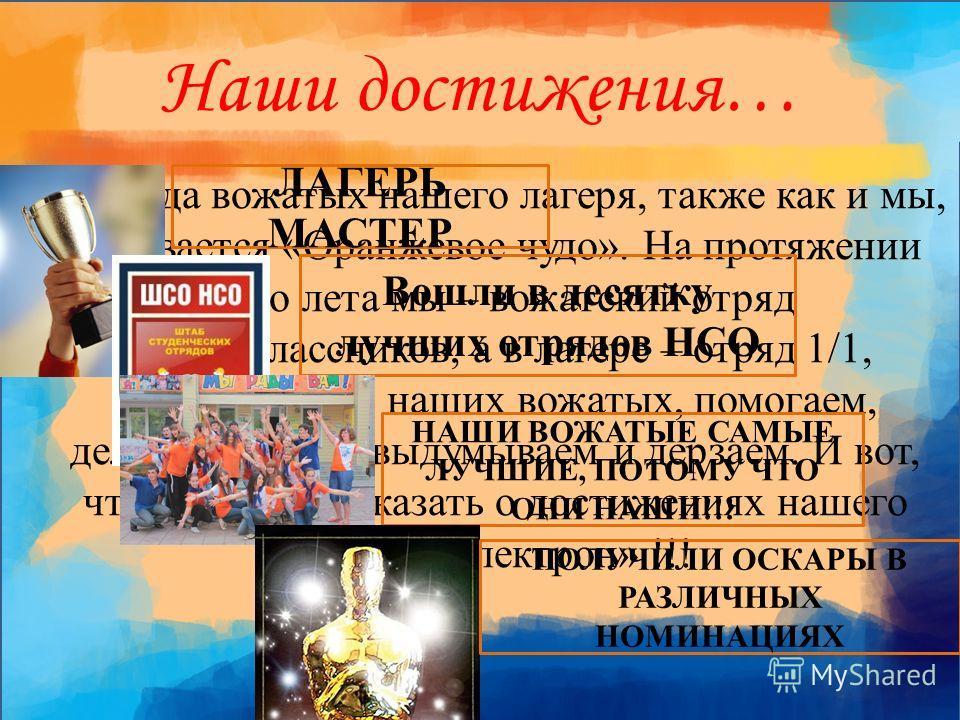Наши достижения… Команда вожатых нашего лагеря, также как и мы, называется «Оранжевое чудо». На протяжении всего лета мы – вожатский отряд старшеклассников, а в лагере – отряд 1/1, поддерживаем наших вожатых, помогаем, делаем, творим, выдумываем и де