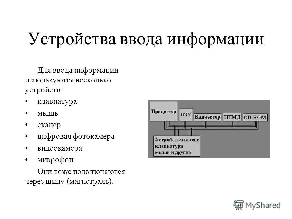 Устройства ввода информации Для ввода информации используются несколько устройств: клавиатура мышь сканер цифровая фотокамера видеокамера микрофон Они тоже подключаются через шину (магистраль).