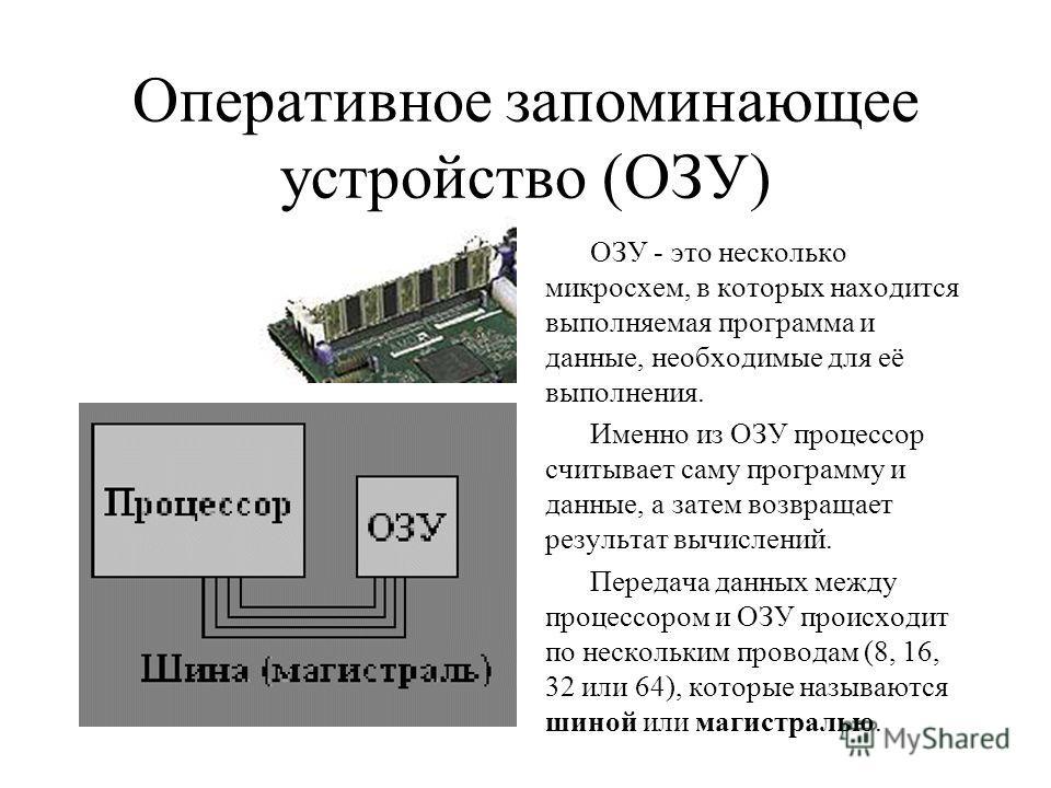 Оперативное запоминающее устройство (ОЗУ) ОЗУ - это несколько микросхем, в которых находится выполняемая программа и данные, необходимые для её выполнения. Именно из ОЗУ процессор считывает саму программу и данные, а затем возвращает результат вычисл