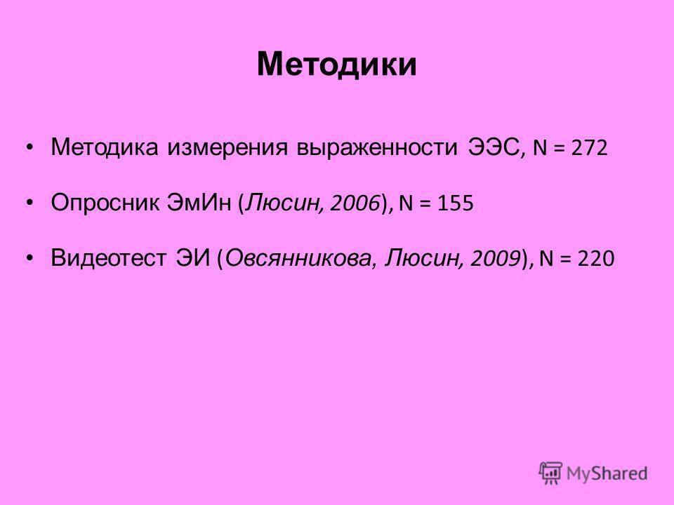 Методики Методика измерения выраженности ЭЭС, N = 272 Опросник ЭмИн ( Люсин, 2006), N = 155 Видеотест ЭИ ( Овсянникова, Люсин, 2009), N = 220
