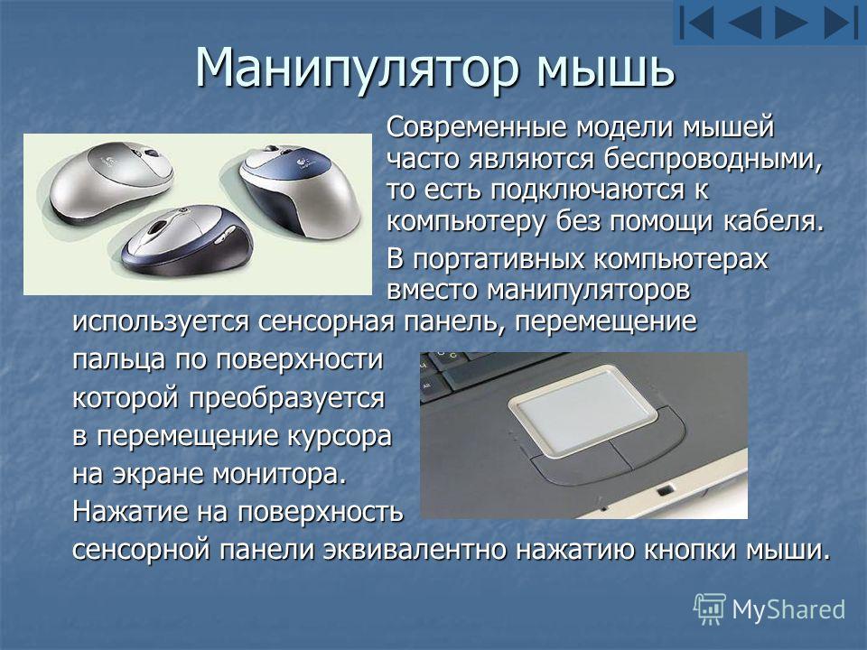 Манипулятор мышь Современные модели мышей часто являются беспроводными, то есть подключаются к компьютеру без помощи кабеля. В портативных компьютерах вместо манипуляторов используется сенсорная панель, перемещение пальца по поверхности которой преоб