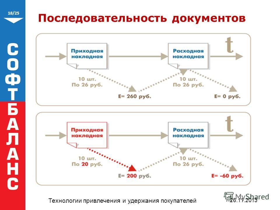 18/25 Последовательность документов Технологии привлечения и удержания покупателей 26.11.2013