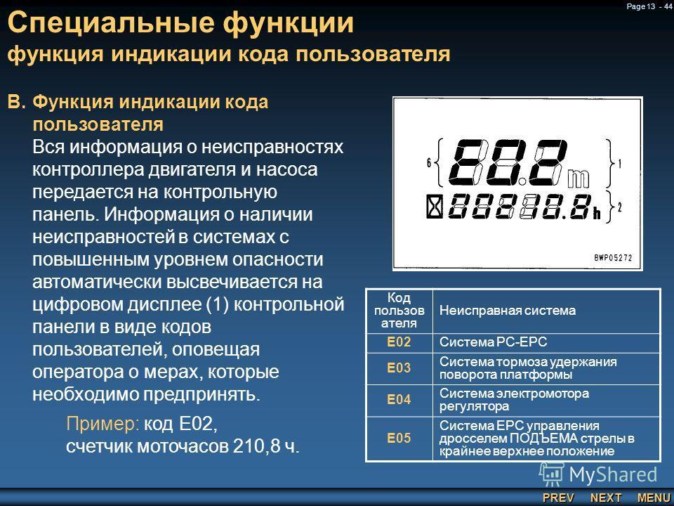 PREV NEXT MENU Page 13 - 44 Специальные функции функция индикации кода пользователя B.Функция индикации кода пользователя Вся информация о неисправностях контроллера двигателя и насоса передается на контрольную панель. Информация о наличии неисправно