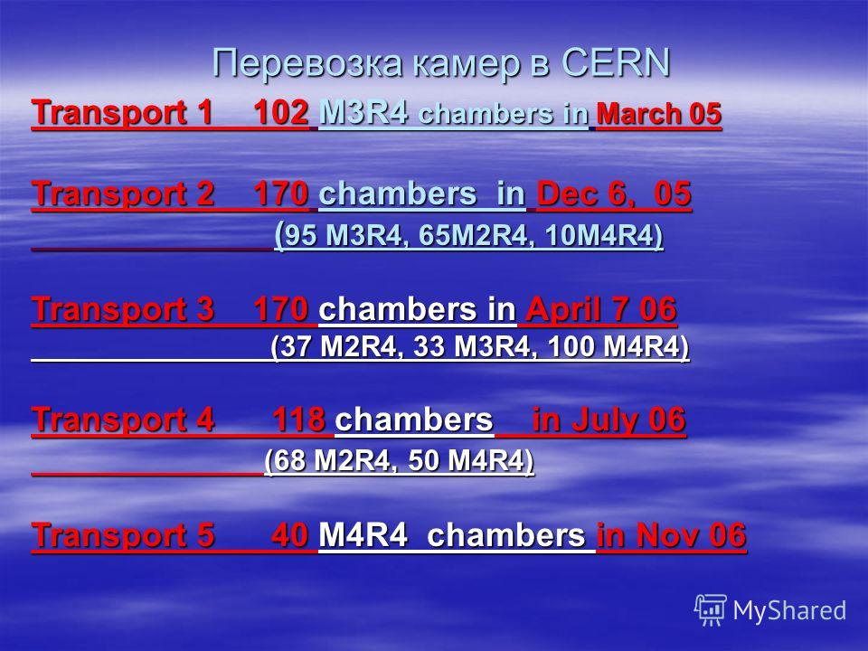 Transport 1 102 M3R4 chambers in March 05 Transport 2 170 chambers in Dec 6, 05 ( 95 M3R4, 65M2R4, 10M4R4) ( 95 M3R4, 65M2R4, 10M4R4) Transport 3 170 chambers in April 7 06 (37 M2R4, 33 M3R4, 100 M4R4) (37 M2R4, 33 M3R4, 100 M4R4) Transport 4 118 cha