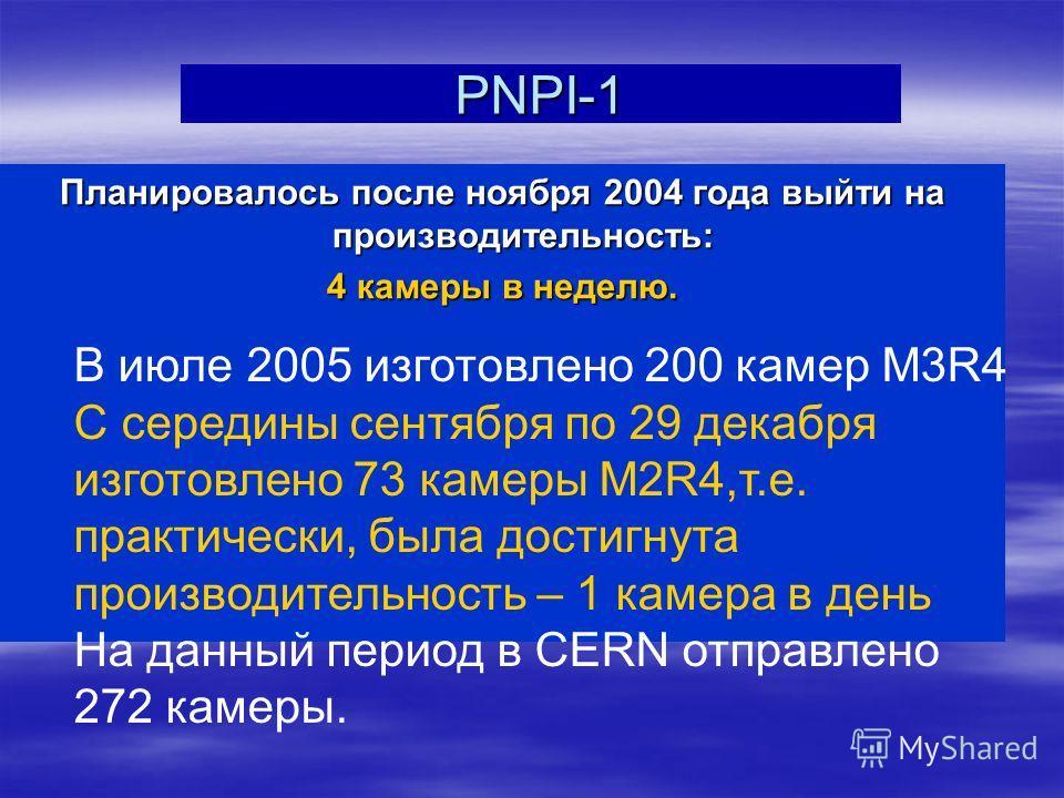 PNPI-1 Планировалось после ноября 2004 года выйти на производительность: 4 камеры в неделю. В июле 2005 изготовлено 200 камер M3R4 С середины сентября по 29 декабря изготовлено 73 камеры M2R4,т.е. практически, была достигнута производительность – 1 к