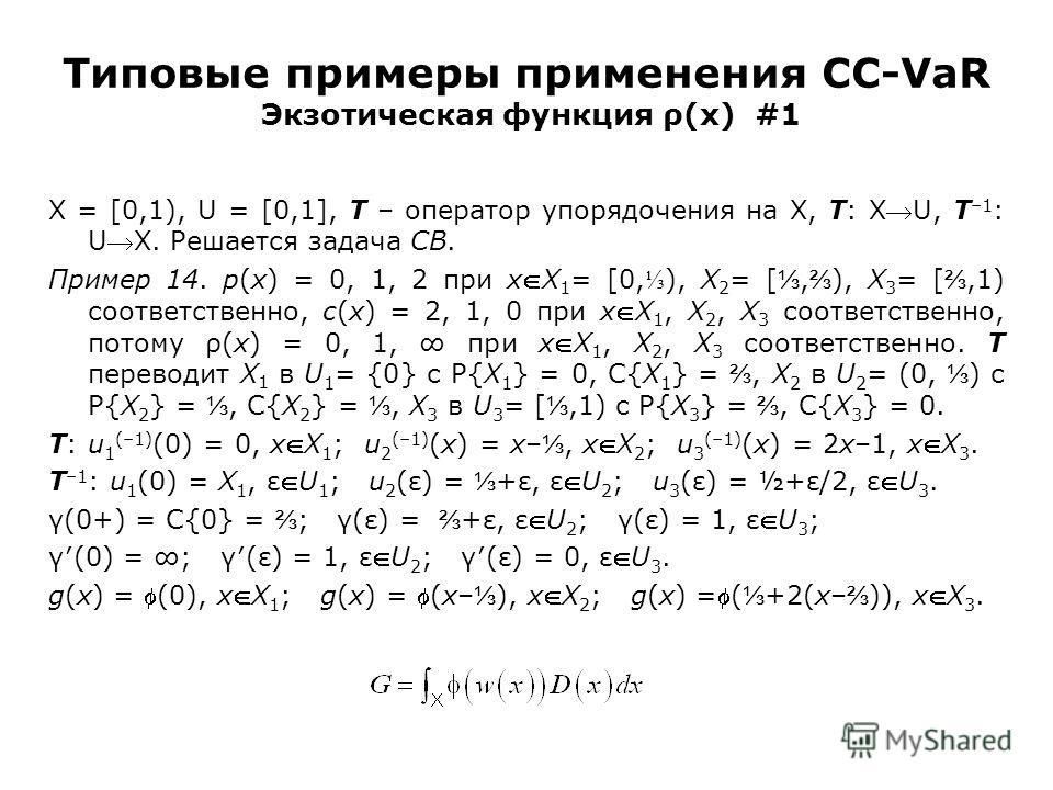 Типовые примеры применения CC-VaR Экзотическая функция ρ(x) #1 X = [0,1), U = [0,1], T – оператор упорядочения на X, T: XU, T –1 : UX. Решается задача CB. Пример 14. p(x) = 0, 1, 2 при xX 1 = [0, ), X 2 = [, ), X 3 = [,1) соответственно, c(x) = 2, 1,
