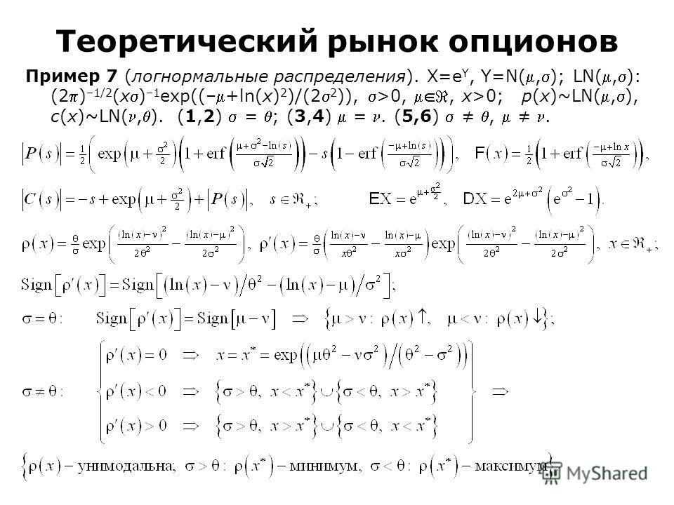 Пример 7 (логнормальные распределения). Χ=e Υ, Υ=N(,); LN(,): (2) –1/2 (x) –1 exp((–+ln(x) 2 )/(2 2 )), >0,, x>0; p(x)~LN(,), c(x)~LN(,). (1,2) = ; (3,4) =. (5,6),. Теоретический рынок опционов