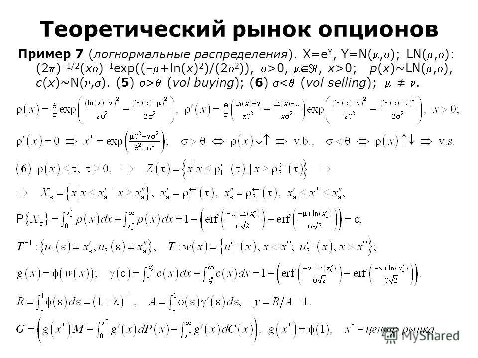 Пример 7 (логнормальные распределения). Χ=e Υ, Υ=N(,); LN(,): (2) –1/2 (x) –1 exp((–+ln(x) 2 )/(2 2 )), >0,, x>0; p(x)~LN(,), c(x)~N(,). (5) > (vol buying); (6) < (vol selling);. Теоретический рынок опционов