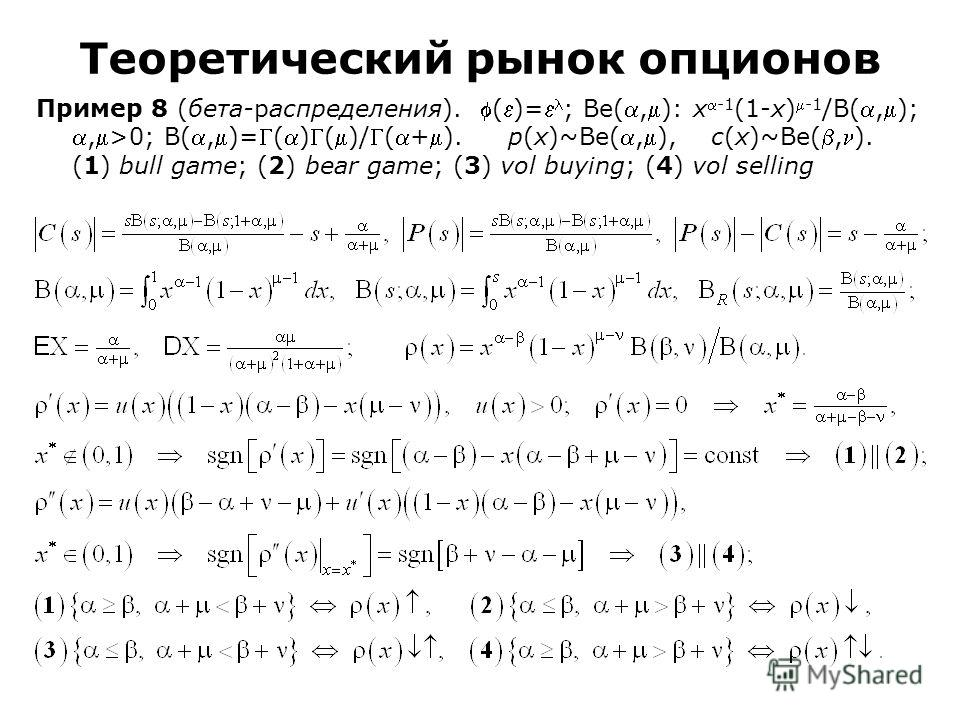 Пример 8 (бета-распределения). ()= ; Be(,): x-1 (1-x)-1 /B(,);,>0; B(,)=()()/(+). p(x)~Be(,), c(x)~Be(,). (1) bull game; (2) bear game; (3) vol buying; (4) vol selling Теоретический рынок опционов