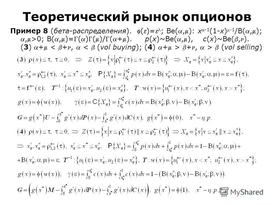 Пример 8 (бета-распределения). ()= ; Be(,): x-1 (1-x)-1 /B(,);,>0; B(,)=()()/(+). p(x)~Be(,), c(x)~Be(,). (3) + +, > (vol selling) Теоретический рынок опционов
