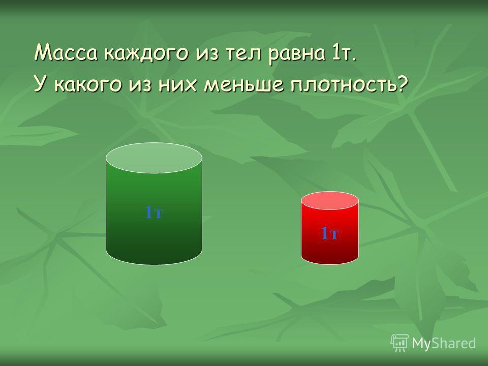 Масса каждого из тел равна 1т. У какого из них меньше плотность? 1т