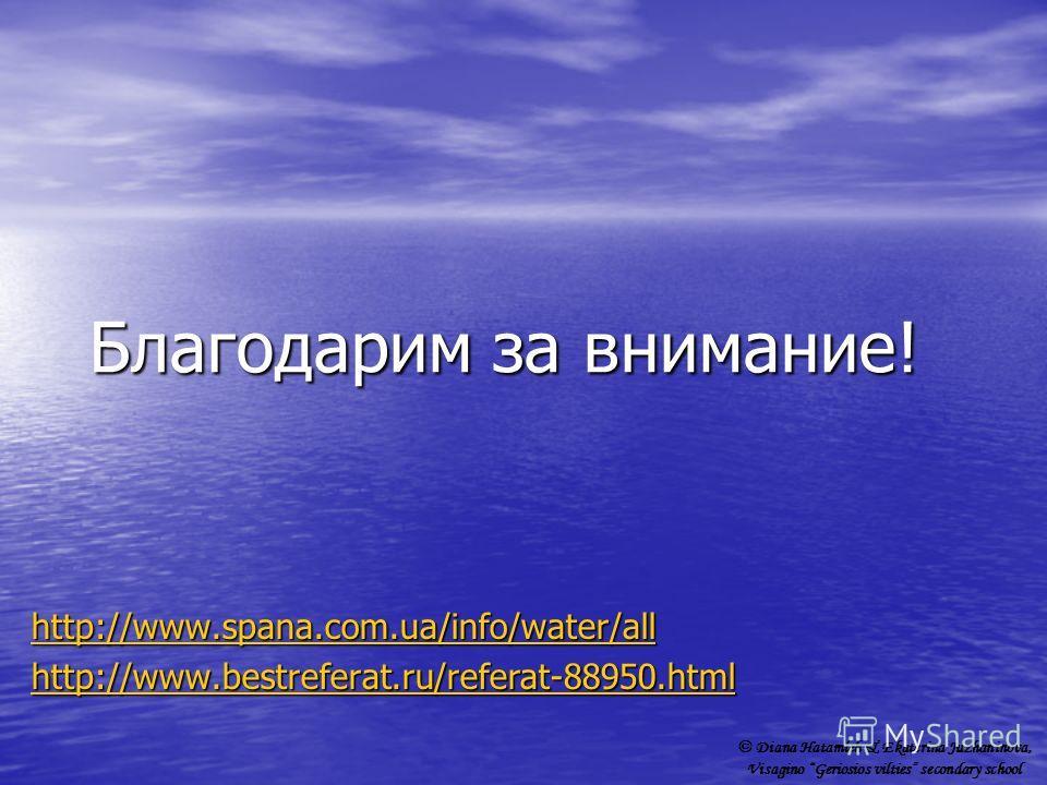 Благодарим за внимание! http://www.spana.com.ua/info/water/all http://www.bestreferat.ru/referat-88950.html © Diana Hatamleh & Ekaterina Juzhaninova, Visagino Geriosios vilties secondary school