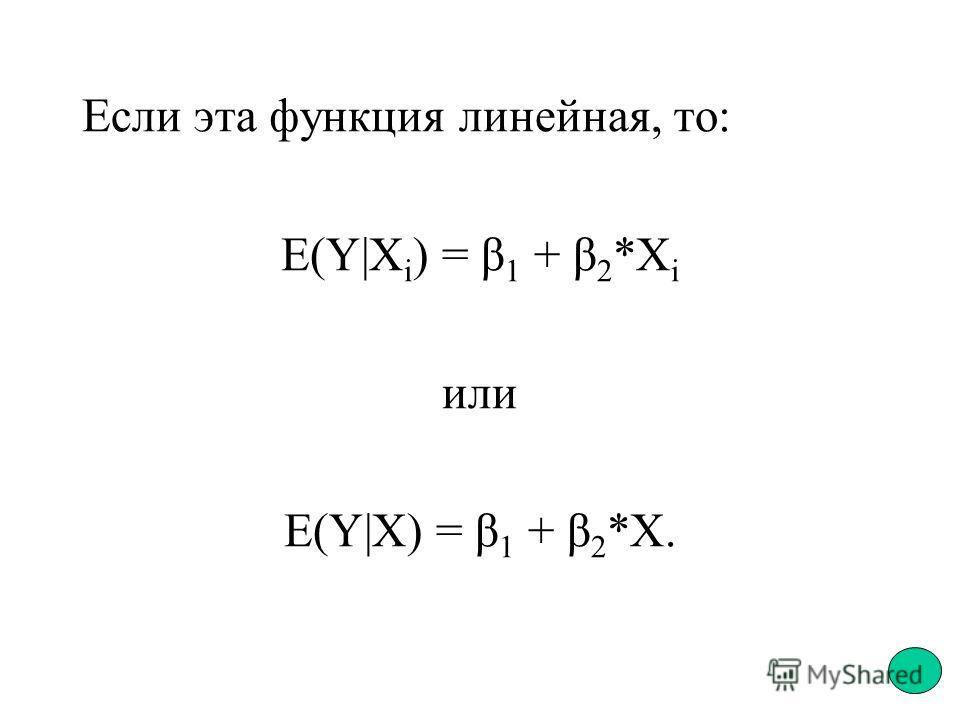 Если эта функция линейная, то: E(Y|X i ) = β 1 + β 2 *Х i или E(Y|X) = β 1 + β 2 *Х.